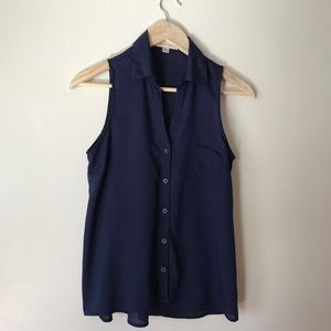 ➖ navy blue || MONTEAU || sheer button down ➖